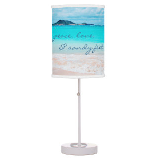 """Sandy Feet"" Quote Aqua Ocean & Sandy Beach Photo Table Lamp"