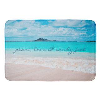 """""""Sandy Feet"""" Quote Blue Ocean & Sandy Beach Photo Bath Mat"""