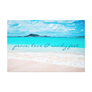 """Sandy Feet"" Quote Blue Ocean & Sandy Beach Photo Canvas Print"