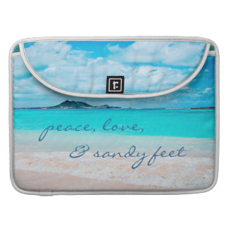 """Sandy Feet"" Quote Blue Ocean & Sandy Beach Photo Sleeve For MacBook Pro"