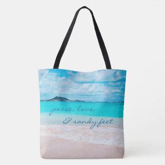 """Sandy feet"" quote turquoise sky sandy beach photo Tote Bag"