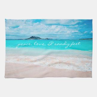 """Sandy feet"" turquoise beach photo kitchen towel"