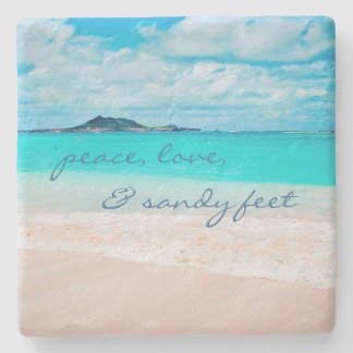 """Sandy feet"" turquoise beach photography stone coa Stone Beverage Coaster"