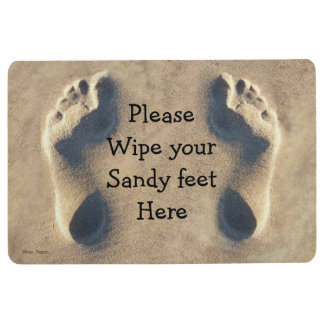 Sandy footprints beach customise welcome floor mat