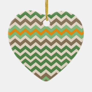 Sandy Green and Mocha Chevron Mix Ceramic Heart Ornament
