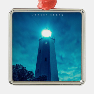 Sandy Hook Light. Silver-Colored Square Ornament