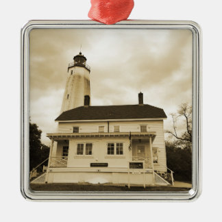 Sandy Hook Lighthouse Silver-Colored Square Ornament