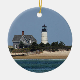 Sandy Neck Lighthouse Round Ceramic Ornament