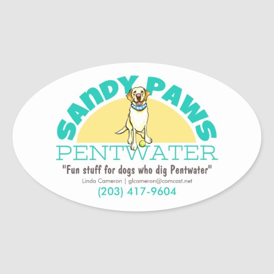 Sandy Paws Pet Business Logo Oval Sticker