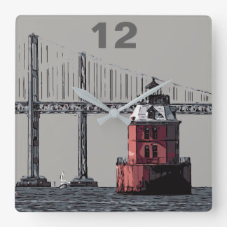 SANDY POINT LIGHT SQUARE WALL CLOCK