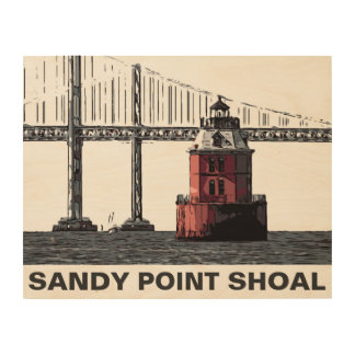 SANDY POINT LIGHT WOOD PRINT