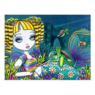 """Sandy"" Rainbow Sea Turtle Mermaid Art Postcards"
