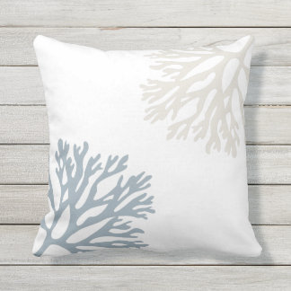 Sandy Sea Coral Silhouettes Outdoor Pillow