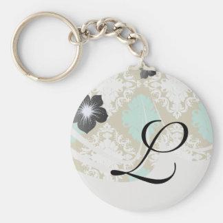 sandy tan and aqua diamond damask pattern keychain