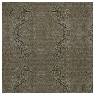 Sandy Textured Seahorse Photograph Fabric