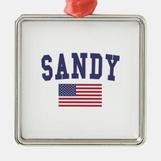 Sandy US Flag Silver-Colored Square Ornament