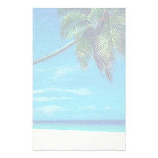 Sandy White Beach with Tropical Palm Tree Stationery