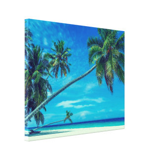 Sandy White Beach with Tropical Palm Trees Canvas Print