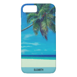 Sandy White Beach with Tropical Palm Trees iPhone 8/7 Case