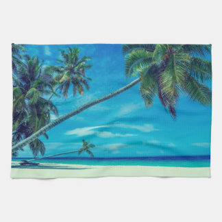 Sandy White Beach with Tropical Palm Trees Kitchen Towel