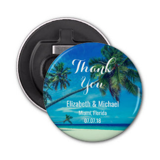 Sandy White Beach with Tropical Palm Trees Wedding Button Bottle Opener