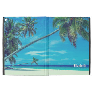 "Sandy White Beach with Tropical Palms Custom iPad Pro 12.9"" Case"