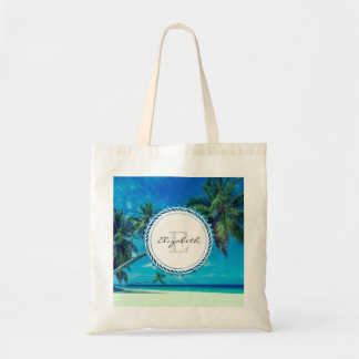 Sandy White Beach with Tropical Palms Monogram