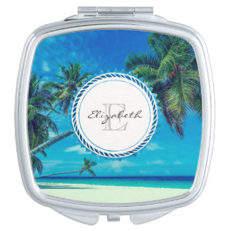 Sandy White Beach with Tropical Palms Monogram Mirrors For Makeup
