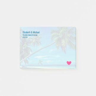 Sandy White Beach with Tropical Palms Wedding Post-it Notes