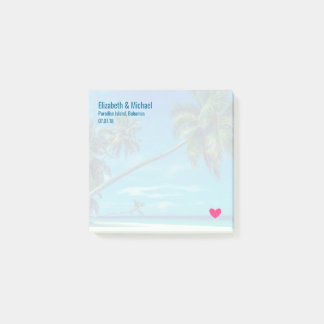Sandy White Beach with Tropical Palms Wedding Post-it® Notes