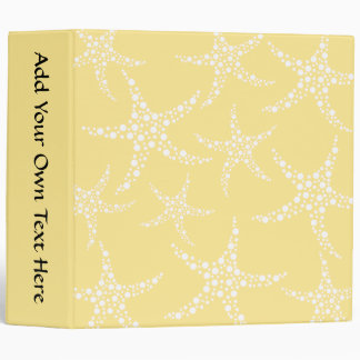 Sandy Yellow and White Starfish Pattern. 3 Ring Binders