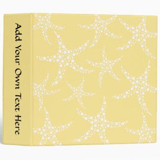 Sandy Yellow and White Starfish Pattern. Binder