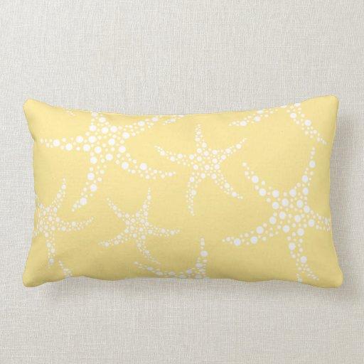 Sandy yellow and white starfish pattern pillows zazzle - Whiten yellowed pillows ...