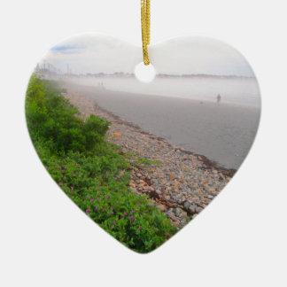 Sandy York Beach Ceramic Heart Ornament