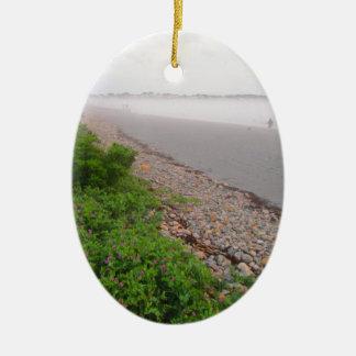 Sandy York Beach Ceramic Oval Ornament