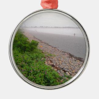Sandy York Beach Silver-Colored Round Ornament