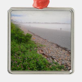 Sandy York Beach Silver-Colored Square Ornament