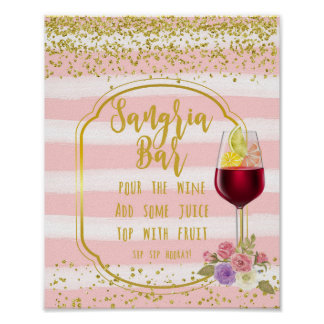 sangria bar sign pink and gold confetti