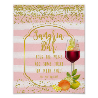 sangria bar sign pink and gold confetti fruit