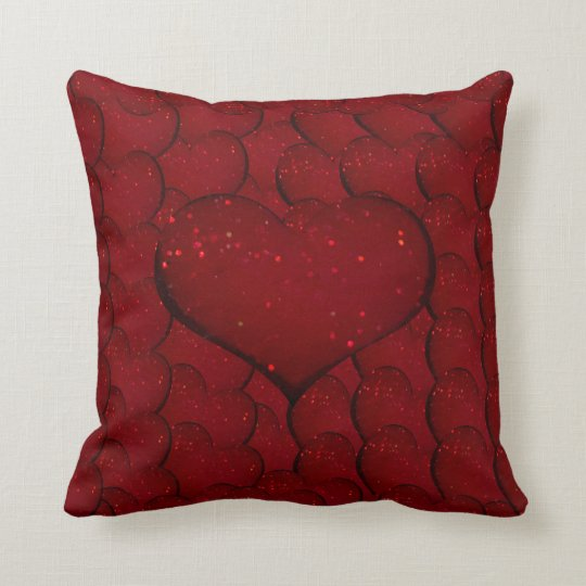 Sangria Hearts Throw Pillow