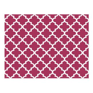 Sangria Moroccan Tile Trellis Pattern Postcard