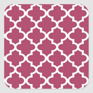Sangria Moroccan Tile Trellis Pattern Square Sticker