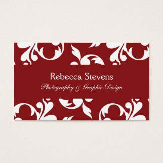 Sangria Red and White Swirling Vine Business Card