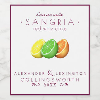 Sangria Red Wine Label