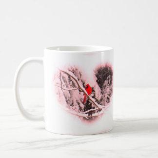 Sangria Snow Heart Cardinal - Bird Coffee Mug