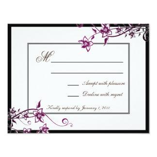 "Sangria White Floral Blossom Wedding Response RSVP 4.25"" X 5.5"" Invitation Card"