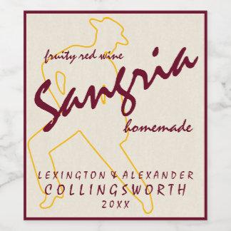 Sangria With Flamenco Dancer Homemade Wine Label