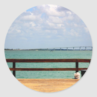Sanibel Fishing Pier Classic Round Sticker