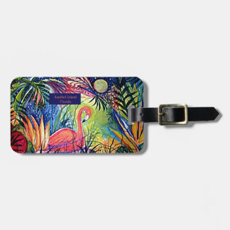 Sanibel Island Flamingo Art Luggage Tag