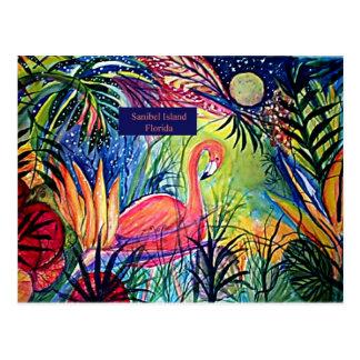 Sanibel Island Flamingo Art Postcard